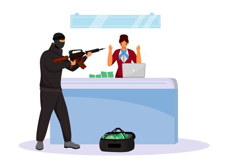 Armed robbery flat color vector faceless character. Criminal threatening bank employee with weapon. Robber taking cash by force. Money theft. Isolated cartoon illustration Illustration