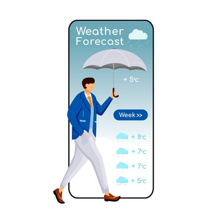 Weather forecast cartoon smartphone vector app screen. Mobile phone display, flat character design mockup. Guy in suit. Male with umbrella. Man in jacket. Meteorology application telephone interface Vector Illustration