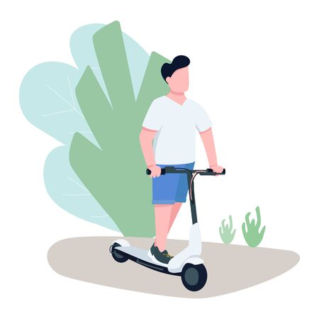 Boy on electric scooter flat color vector faceless character. Young man riding urban transport means, modern city vehicle isolated cartoon illustration for web graphic design and animation