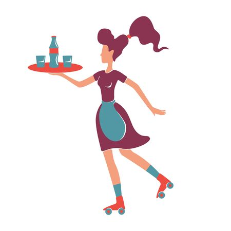 Retro style roller waitress serving flat color vector faceless character. Female old fashioned restaurant waiter on rollerskate holding tray with alcohol drinks isolated cartoon illustration
