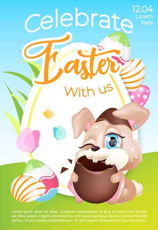 Easter holiday celebration event poster flat vector template. Eggs hunting. Brochure, booklet one page concept design with bunny kawaii cartoon character. Pascha party flyer, leaflet