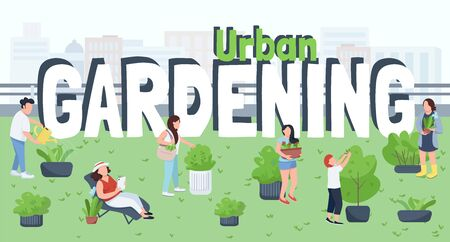 Urban gardening, landscaping flat color vector illustration. City greening, nature care. People caring plants, gardeners, male and female workers 2D cartoon characters on cityscape background