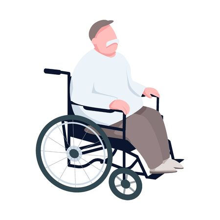 Pensioner in wheelchair flat color vector faceless character. Senior man, elderly disabled individual, paraplegic grandfather isolated cartoon illustration for web graphic design and animation Vector Illustration