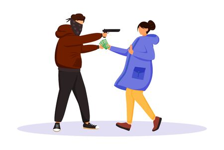 Armed street robbery flat color vector faceless character. Burglar threatening woman with gun. Thief stealing cash from person. Masked criminal robbing girl. Isolated cartoon illustration Vettoriali