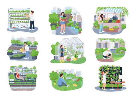 Urban gardening 2D vector web banners, posters set. Gardeners, horticulturists flat characters on cartoon background. Agriculture, plants cultivation printable patches, colorful web elements