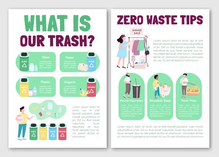 Zero waste lifestyle tips flat vector brochure template. Trash sorting. Flyer, booklet, printable leaflet design. Magazine page, cartoon annual reports, infographic posters with text space