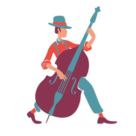 Jazz band musician with double bass flat color vector faceless character. Old fashioned man in hat, orchestra member. Retro performer playing musical instrument isolated cartoon illustration