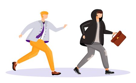 Street theft flat color vector faceless character. Thief stealing mans briefcase. Man running after robber. Felony, robbery. Property crime. Isolated cartoon illustration