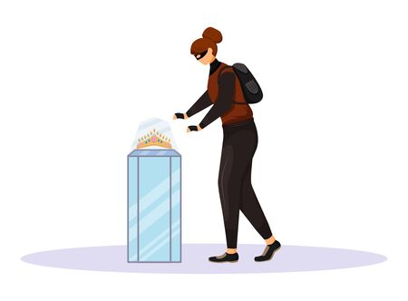 Jewelry store robbery flat color vector faceless character. Jewellery shop burglary. Female burglar stealing bijouterie. Museum theft. Woman taking golden diadem. Isolated cartoon illustration Vetores
