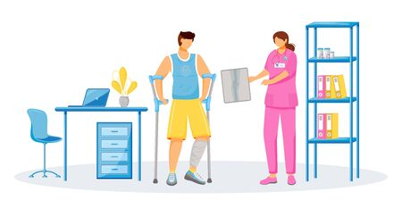 Doctor and patient flat color vector faceless characters. Rehabilitation at hospital. Man with cast on leg. Female physician at clinic. Healthcare treatment isolated cartoon illustration