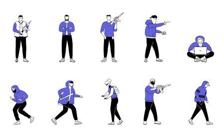 Criminals flat silhouette vector illustrations set. Armed robbers, burglars. Thieves with guns, vandals. Street bullies. 2D isolated outline characters on white background. Simple style drawings