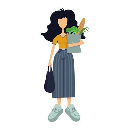 Zero waste flat cartoon vector illustration. Standing woman holds organic food. Healthy nutrition. Ready to use 2d character template for commercial, animation, printing design. Isolated comic hero