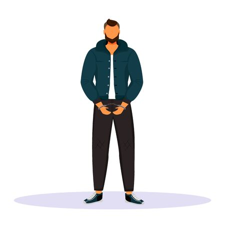 Man in handcuffs flat color vector faceless character. Prisoner, suspect. Guy accused of committing crime. Captured criminal. Convicted person. Arrested thief. Isolated cartoon illustration