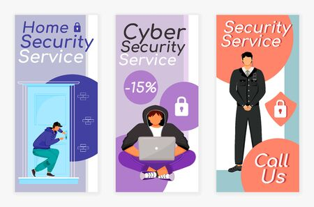Security services flyers flat vector templates set. Home protection. Cyber safety. Printable leaflet design layout. Advertising web vertical banner, social media stories