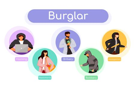 Burglar flat color vector informational infographic template. Hacking. Bribery, robbery. Poster, booklet, PPT page concept design with cartoon characters. Advertising flyer, leaflet, info banner idea
