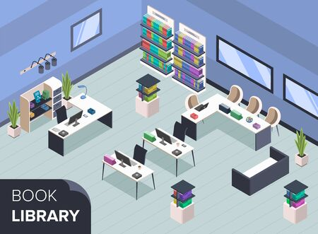 Modern book library isometric color vector illustration. Bookshelves with books. Librarian desk, bookstore administrator table. Furnished public library interior with no people 3d concept 일러스트
