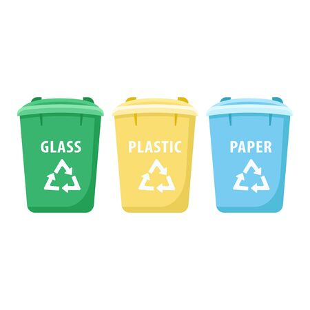 Trash sorting bins cartoon vector illustration. Waste management, recycling. Plastic, glass and paper multicolor containers flat object. Rubbish separation urban facility isolated on white background