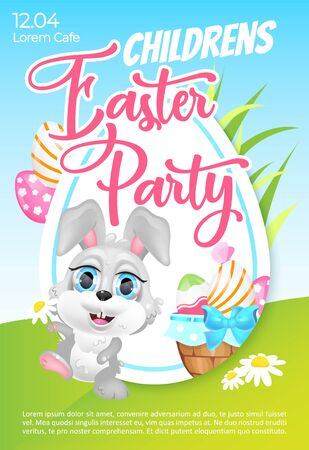 Children Easter party poster flat vector template. S ring Pascha holiday celebration for kids. Brochure, booklet one page concept design with bunny kawaii cartoon character. Flyer, leaflet