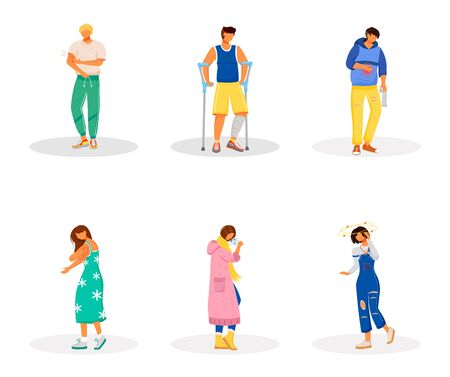 Unwell patients flat color vector faceless characters set. Stomach ache. Pain from inflammation. Healthcare issues. Disease symptoms isolated cartoon illustrations on white background
