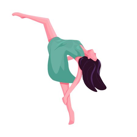 Contemporary dancer flat color vector faceless character. Contemp dance graceful female performer. Girl stretching leg isolated cartoon illustration for web graphic design and animation Vector Illustration