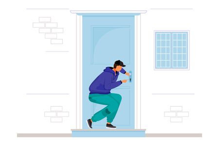 Burglar breaking into house flat color vector faceless character. Home break-in. Lockpicking. Thief opening interior door. Robber picking lock. Isolated cartoon illustration Vecteurs