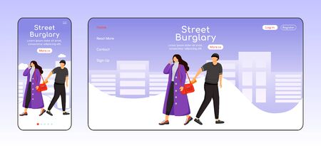 Street burglary adaptive landing page flat color vector template. Man stealing wallet from womans bag. Pickpocketing mobile and PC homepage layout. One page website UI. Webpage cross platform design Illustration