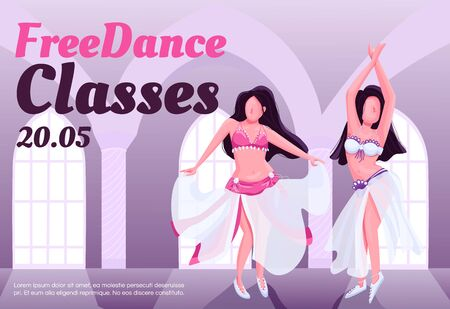Bellydance free class banner flat vector template. Brochure, poster concept design with cartoon characters. Exotic dance studio lessons horizontal flyer, leaflet with place for text