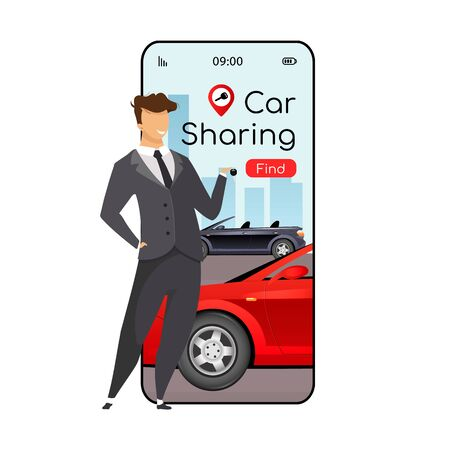 Car sharing cartoon smartphone vector app screen. Mobile phone display with flat character design mockup. Group transport rent. Ride sharing, carpooling application telephone interface