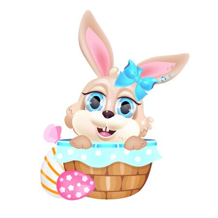 Cute little bunny sitting in basket kawaii cartoon vector character. Adorable and funny animal Easter rabbit isolated sticker, patch. Anime baby smiling beige hare with Pascha eggs emoji on white