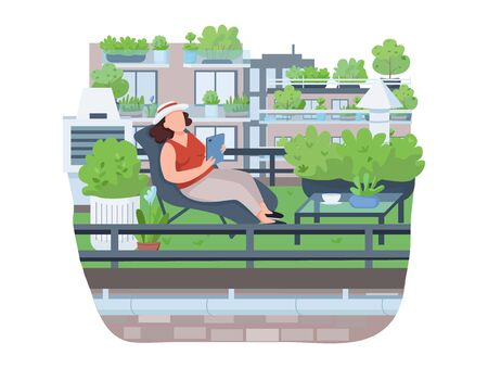 Relaxing on veranda semi 2D vector web banner, poster. Woman on deck chair flat character on cartoon background. Recreation, roof gardening, town greening printable patches, colorful web elements