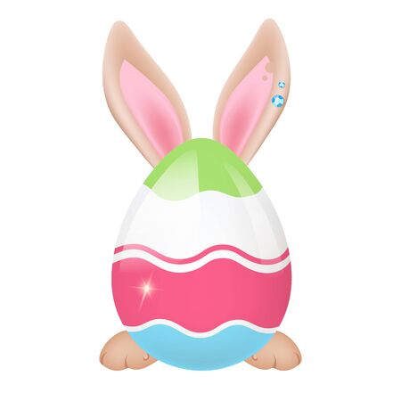 Cute rabbit behind decorated Easter egg kawaii cartoon character. Adorable and funny animal Pascha symbol isolated sticker, patch. Huge egg with bunny ears and paws. Anime baby hare emoji on white  イラスト・ベクター素材