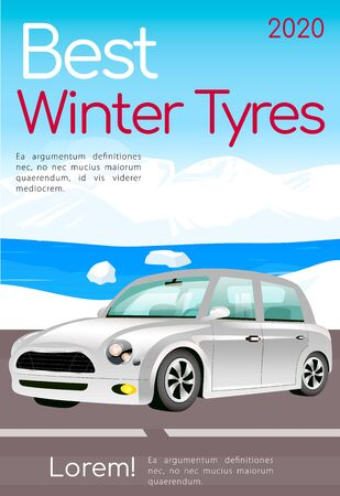 Best winter tyres poster flat vector template. Car maintenance brochure, magazine page concept design with cartoon illustration. Seasonal tires replacement flyer, leaflet with text space
