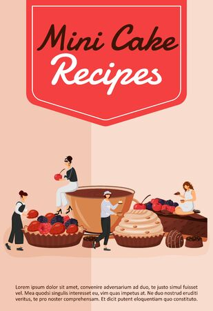 Mini cake recipes poster flat vector template. Chef cooking pastry. Cupcake and tart. Fruit dessert. Brochure, booklet one page concept design with cartoon characters. Patisserie flyer, leaflet Ilustracje wektorowe