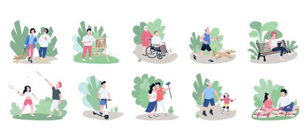 People relaxing outdoors flat color vector faceless characters set. Weekend pastime, open air recreation, family rest, active lifestyle isolated cartoon illustrations on white background  イラスト・ベクター素材