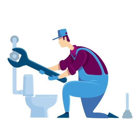 Plumber flat color vector faceless character. Specialist fixing toilet. Handyman with wrench. House improvement. Handyperson repairs pipeline. Home repairs isolated cartoon illustration