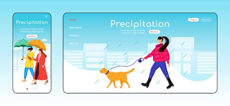 Precipitation landing page flat color vector template. Mobile display. Lady walking dog homepage layout. Rainy day one page website interface, cartoon character. Wet weather web banner, webpage