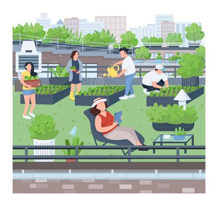 Landscaping flat color vector illustration. Urban gardening, agriculture, building roof greening. People planting seedlings, gardeners, florists 2D cartoon characters on cityscape background