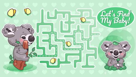 Lets find my baby green labyrinth with cartoon character template. Australian animal find path maze with solution for educational kids game. Koala looking for baby printable flat vector layout
