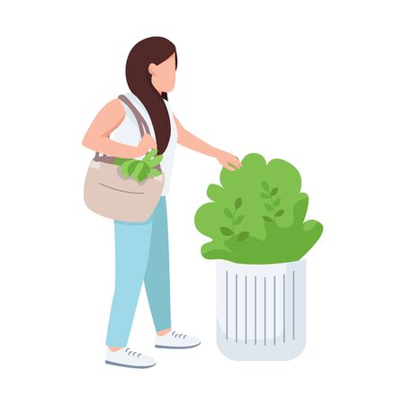 Female touching bush, nature lover, young girl and greenery flat color vector faceless character. Plants admiring isolated cartoon illustration for web graphic design and animation Illustration