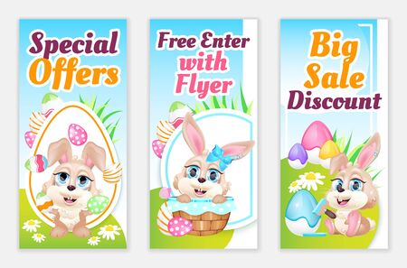 Easter flyers flat vector templates set. Pascha special offers, discounts printable leaflet design layout with bunny cartoon characters. Advertising web vertical banner, sale social media stories