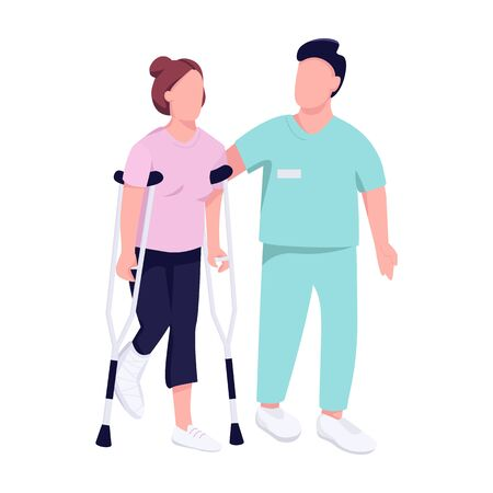 Injured woman on crutches and doctor flat color vector faceless character. Female patient with physical trauma recovery isolated cartoon illustration for web graphic design and animation