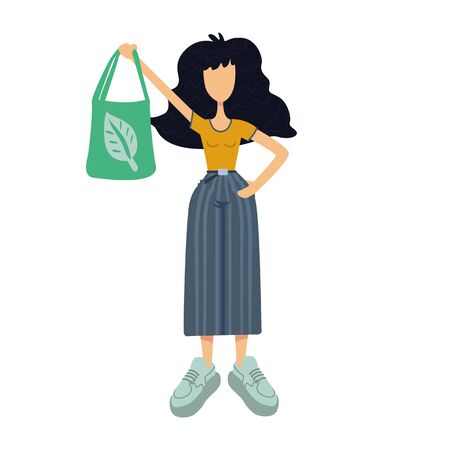 Zero waste flat cartoon vector illustration. Young woman holding green eco bag with leaf. Ready to use 2d character template for commercial, animation, printing design. Isolated comic hero