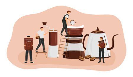 Coffee brewing methods flat concept vector illustration. Man making espresso. Americano preparation process. Serving fresh drink. Barista 2D cartoon characters for web design. Coffeeshop creative idea