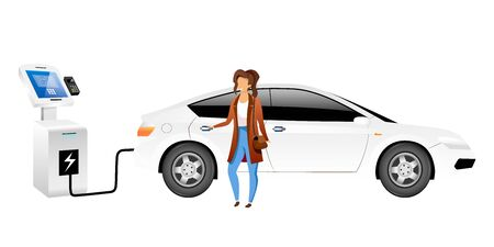 Electric car driver flat color vector faceless character. Smiling woman at ev charging station isolated cartoon illustration for web graphic design and animation. Eco friendly vehicle