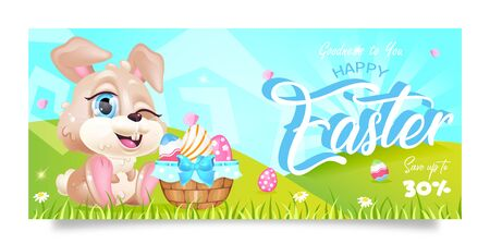 Happy Easter sales banner flat vector template. Pascha special offer flyer design with bunny and eggs basket kawaii cartoon character. Printable postcard, holiday discounts, horizontal poster