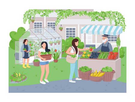 Home greenhouse 2D vector web banner, poster. Gardeners and buyer flat characters on cartoon background. Gardening, veggies growing, organic produce selling printable patches, colorful web elements