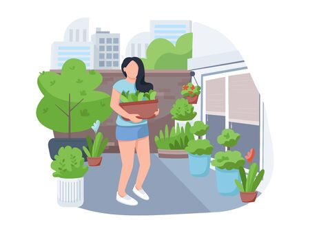 Girl with flowerpot 2D vector web banner, poster. Woman with houseplants, female florist flat character on cartoon background. Street gardening, yard greening printable patches, colorful web elements