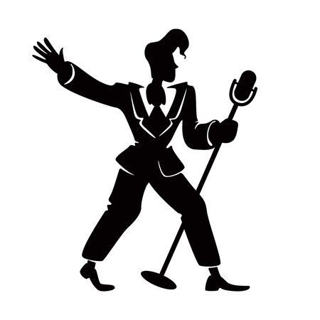 Jazz male singer black silhouette vector illustration. Retro person standing with microphone in fashion pose. 1920 style man, performer 2d cartoon character shape for commercial, animation, printing