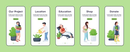 City gardening project onboarding mobile app screen flat vector template. Town greening. Walkthrough website steps with characters. UX, UI, GUI smartphone cartoon interface, case prints set 向量圖像