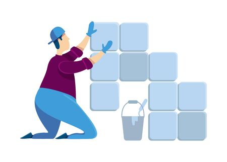 Tiler flat color vector faceless character. Man installing ceramic tiles. Guy at house renovation. Professional handyworker. Grout in mortar. Home repairs isolated cartoon illustration